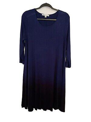 Winter Weekend Dresses (Karen Kane L Deep Blue Ombre Maggie Dress Stretch Shift Swing Weekend)