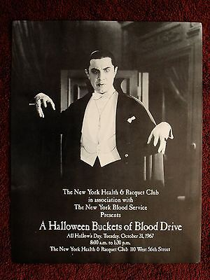 Vintage Bela Lugosi DRACULA Halloween 1967 Blood Drive Poster NY Health& Racquet - Halloween Wellness