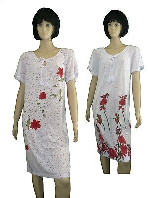 Nachthemd Schlafen (Damen Nachthemd  Schlafshirt kurzer Arm fraulich und leicht Gr. M-XXXL Baumwolle)