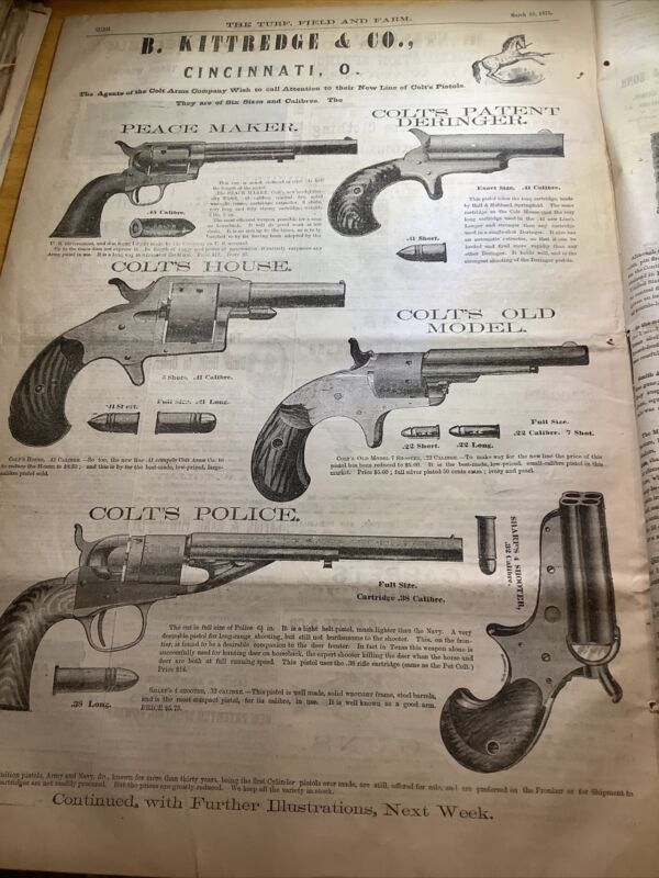1875 NEWSPAPER~ With BEST COLT HANDGUNS FULL PAGE AD! 100% ORIGINAL PEACEMAKER