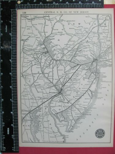 CENTRAL RAILROAD OF NEW JERSEY 1925 SYSTEM MAP ROUTES CONNECTING RRs