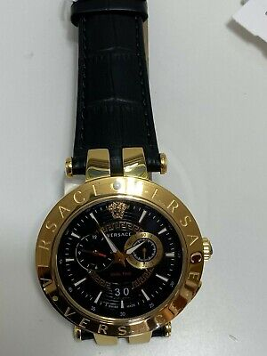Versace VEBV00119 V-Race Gold Plated Mens black leather strap