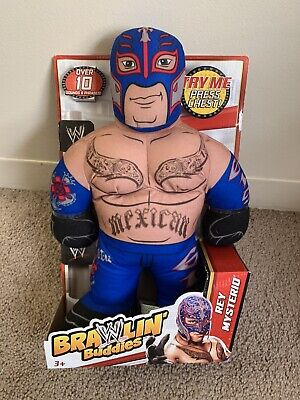 "New NIP WWE Brawlin' Buddies Rey Mysterio 16"" Plush Figure Mexican Blue 2012"