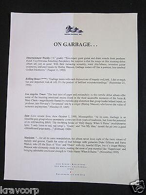 GARBAGE—1996 PRESS RELEASE