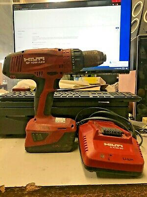 Hilti Sf 10w-a22 Used Cordless Drill Driver Plus 3.0 Ah Battery Charger