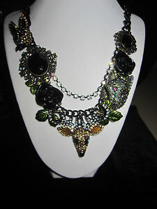 BETSEY JOHNSON RARE DARK FOREST STATEMENT NECKLACE WITH DEER WOLF BLING