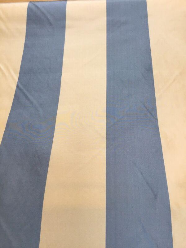Scalamandre Silk Blue Gold Stripe Tafetta Fabric Drapery 7.5 Yards