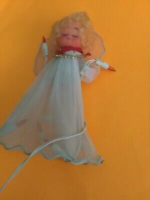Vintage Western Auto Christmas Tree Topper Blinking Light Up Angel Works White