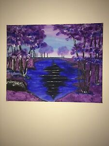 Purple Outdoor Scene Painting