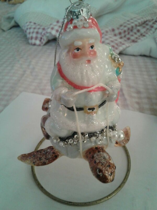Santa Riding Turtle Ornament ~ New