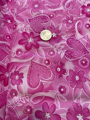 Pink Ribbon Fabric Hearts Breast Cancer Awareness 9985 Breast Cancer Awareness Fabric