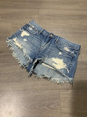 Abercrombie And Fitch Ladies Blue Denim Shorts With Ripped Detail Size 10 W30