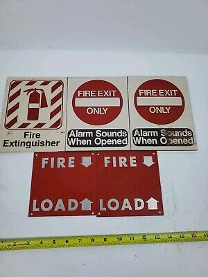Lot Of 5 Vintage Aluminum And Tile Fire Extinguisher Etc. Signs. Vintage