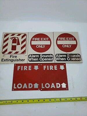 Lot Of 5 Vintage Aluminum And Tile Fire Extinguisher Etc. Signs. Vintage