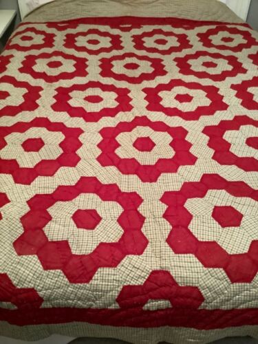 """Antique Grandmother's Flower Garden Quilt ALL Hand Stitched Large 88"""" x 86"""""""