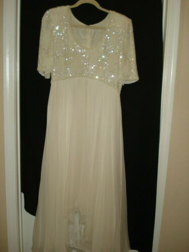 CHIFFON & BEADED FORMAL EVENING DRESS LARGE