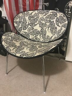 White and Black Retro 1960s Paisley Occasional Chair