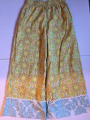Boutique Christmas Pajamas (Ava Rose women's boutique yellow aqua blue Christmas pajamas lounge pants m)