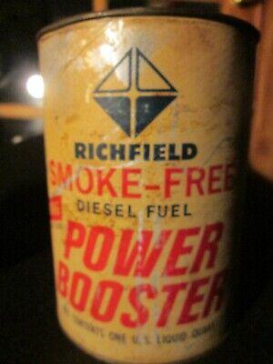 Vintage RICHFIELD FULL U.S QUART - DIESEL FUEL POWER BOOSTER - SMOKE FREE -