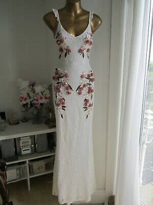 Hope & Ivy @ ASOS BNWT Size 8 NEW White Cami lace Cross back floral Maxi Dress