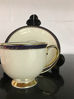Lenox Hamilton Cup Saucer Set Gold Blue Band Ivory Fine China Presidential  USA ()