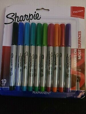 Sharpie Permanent Markers Ultra Fine Point Assorted Colors Set Of 10 Multi Color