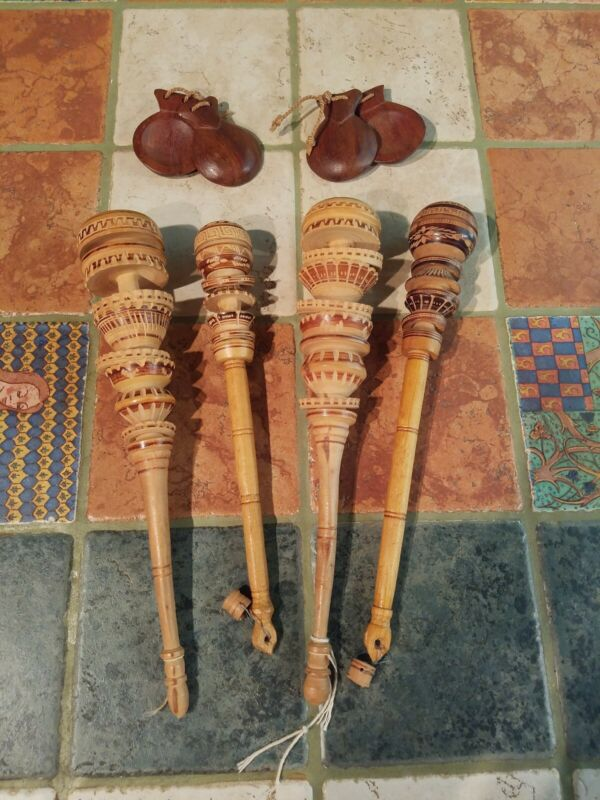 4 Wooden Hand Carved Tribal Dance Rattles Shakers, Wooden Castenets 2 Pair