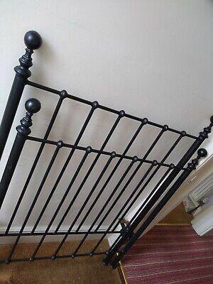 Antique Cast Iron Style Victorian Single Bed Ends with Slats