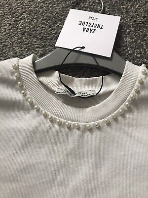 BNWT Zara Cropped White T Shirt Top Size S 8 Pearl Neck NEW