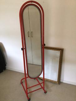 Red standing/mobile full leght mirror