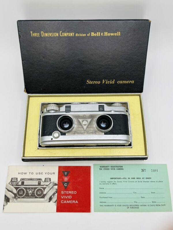 VTG Bell & Howell TDC Stereo Vivid Camera Original Box Warranty & Manual WORKS !