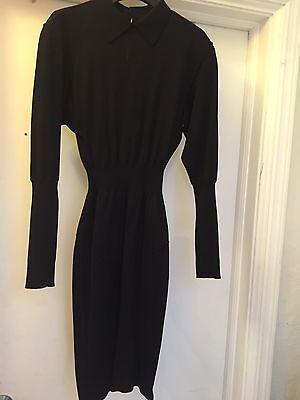 Circa 1984 Authentic Azzedine Alaia Black Sexy L S Wool Dress Size Sm  6 8