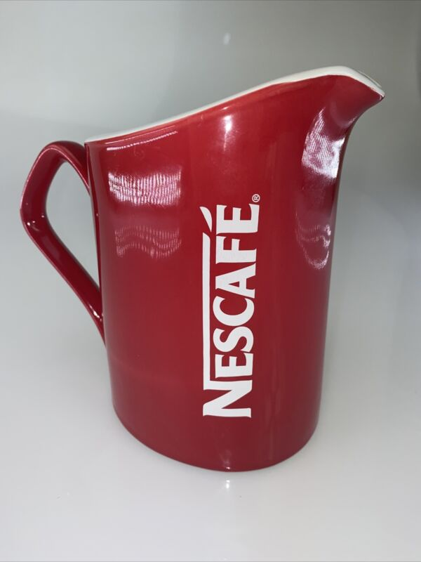 Nescafe Coffee Red Pitcher Pot White Logo