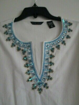 Indian Tunic Shirt (New York & Company ladies small, white, Indian tunic, blue embroidered shirt )