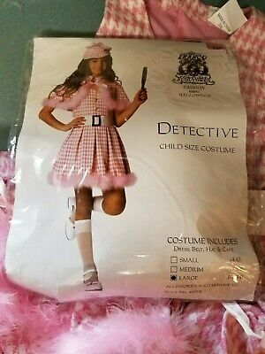 ❤️ Franco Detective Costume Pink White Feathers Girls Size Large 12-14 Cute!! - Girl Detective Halloween Costume