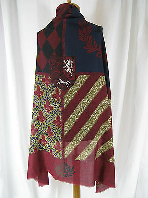 "Evan Picone Oversize Scarf Shawl Kingly Shield 47 x 47"" Burgundy Navy Black White"