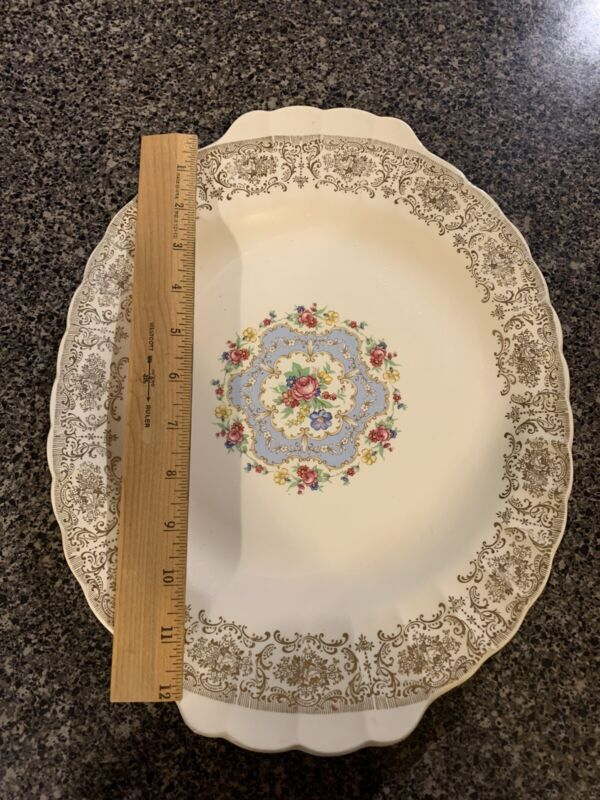 """American Limoges Made In USA 12x9  Serving Platter 22k Gold And 12 6""""  Bowl"""
