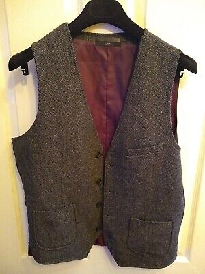 Men's waistcoat, PRIMARK, grey herringbone, wool mix,size M, slim fit, casual, used for sale  Shipping to Nigeria