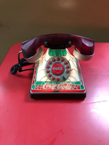 Vintage Coke Coca Cola Light Up Red Stained Glass Look Desk Phone And Cords