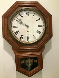 ANTIQUE SCHOOLHOUSE WALL REGULATOR CLOCK WORKING FORESTVILLE CONN