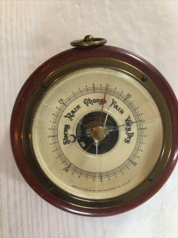 STORMY RAIN CHANGE FAIR VERY DRY Vintage Wood Round Barometer Fee & Stemwedel