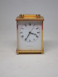 VTG Tiffany & Co CARRIAGE Clock 15 Jewels Swiss Movement Wind Up ALarm Signed