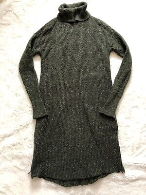 American Eagle Green Turtleneck Sweater Dress Sz Small S Zip Side Wool