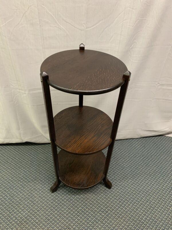 Antique Vintage Dark Oak Arts and Crafts Mission Stand