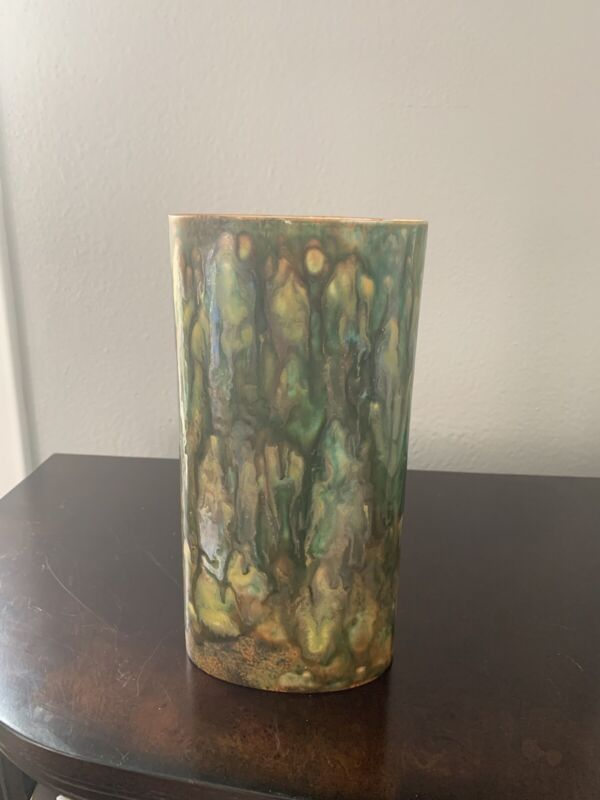 Tall Oval Pottery Vase With Beautiful And Unusual Glazed Finish. Greens/Golds