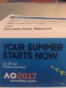 2x Tickets Australian Open Tennis 2017 Wed Night Session Tullamarine Hume Area Preview