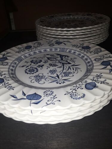 """4 J&G Meakin England BLUE NORDIC Dinner Plates 10"""" Classic Dinner (P523a)s2c"""