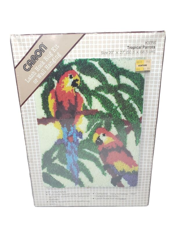 Vintage Caron Latch Hook Rug Kit Wall Hanging K3356 Tropical Parrots