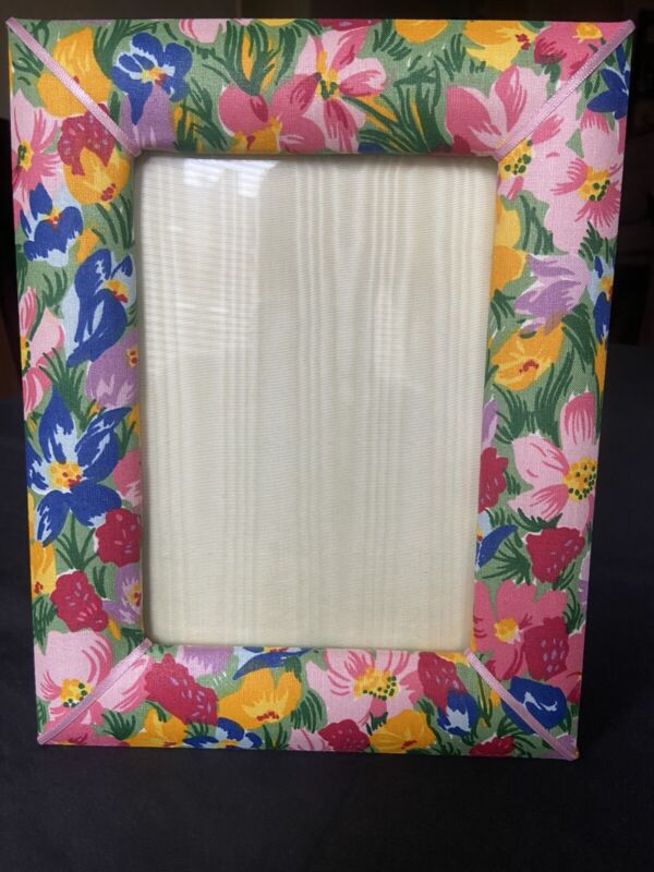 """d porthault Picture Frame """"Mille Fleurs"""" In Cotton Percale 5""""x7"""" Brand New"""