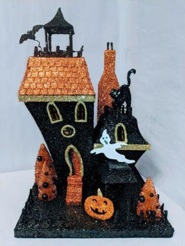 Slanted Haunted House Halloween Scary Glitter Black  And Orange Glitter 19 x 12